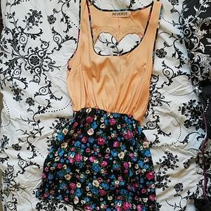 Reverse Floral Dress with heart cutout